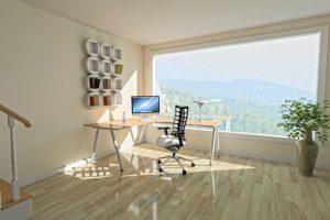 ufficio con pavimento in parquet chiaro